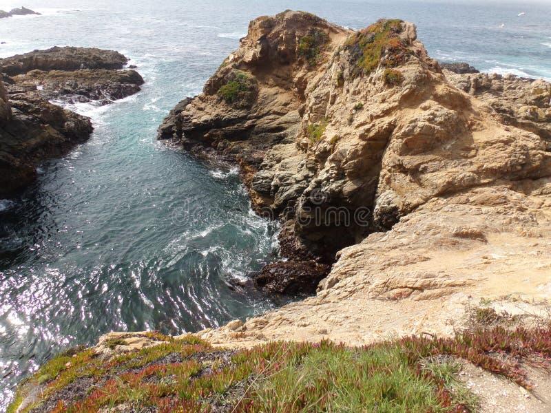California Coastal Rocks and Cliffs, small inlet along the coast - Road Trip down Highway 1 royalty free stock photos