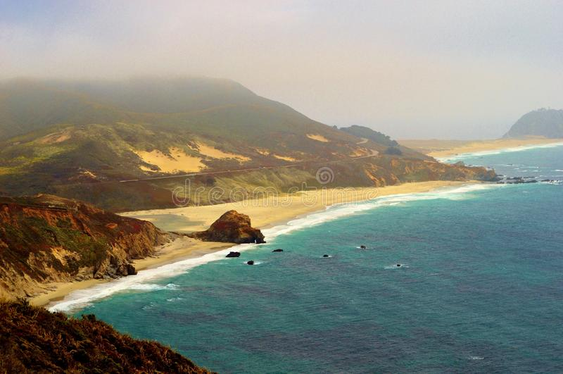California Beach. Beautiful California beach with sand dunes covered in flowers royalty free stock photography