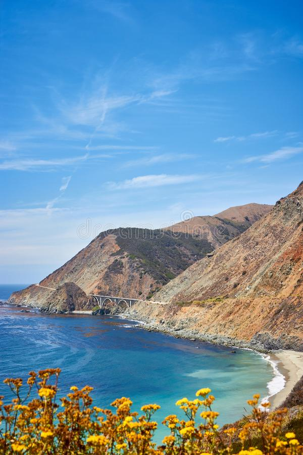 California coastline along famous Pacific Coast Highway, USA. California coastline along famous Pacific Coast Highway State Route 1, USA stock photos