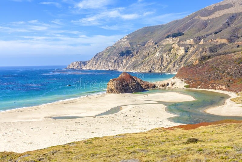 California coastline along Pacific Coast Highway, USA.  stock image