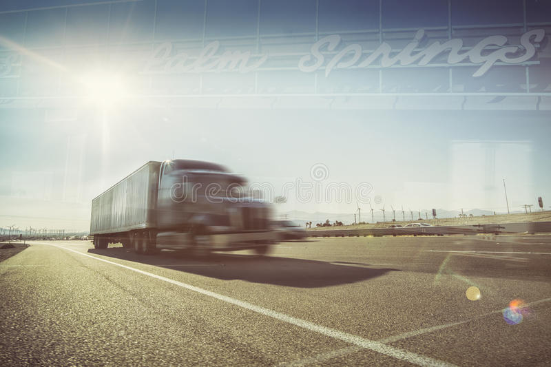 California desert trucking Palm Springs stock photo