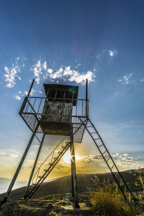 California dreams. An abandoned tower in the middle of the mountains in Iran stock photography