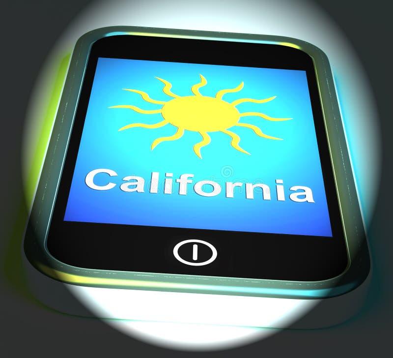 California e Sun tempo delle esposizioni del telefono sul grande in Sta dorato illustrazione di stock