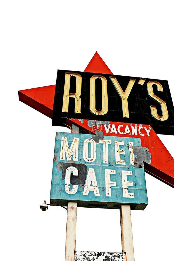 California, el motel del Roy y café en Route 66 fotografía de archivo libre de regalías