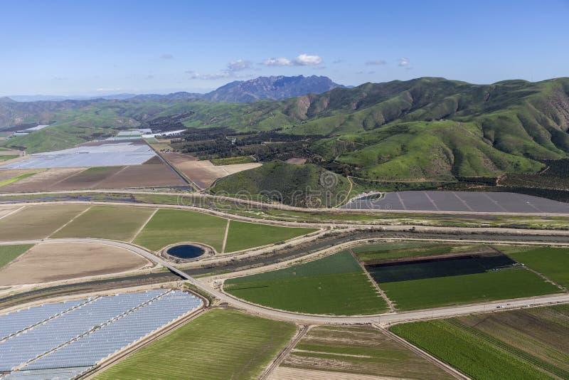 California Farmfields and Santa Monica Mountains. Aerial view of farm fields and Santa Monica Mountains National Recreation Area in Ventura County, California stock photography