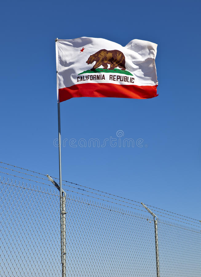 California Flag. On a barbed wire fence stock image
