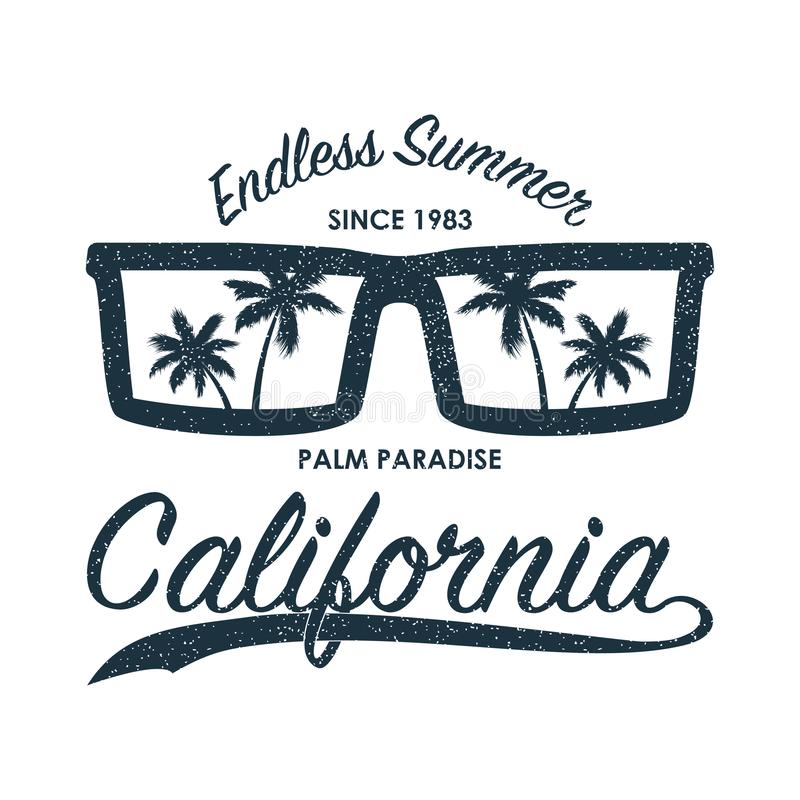 California grunge print for t-shirt with sunglasses and palm trees. Summer typography for clothes, original apparel. Vector stock illustration