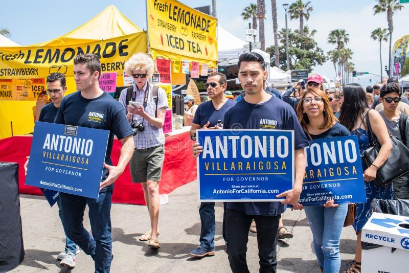 California Gubernatorial candidate Antonio Villaraigosa campaigning in Hermosa Beach, California. Hermosa Beach, Ca: 5/28/2018: California Gubernatorial royalty free stock photos