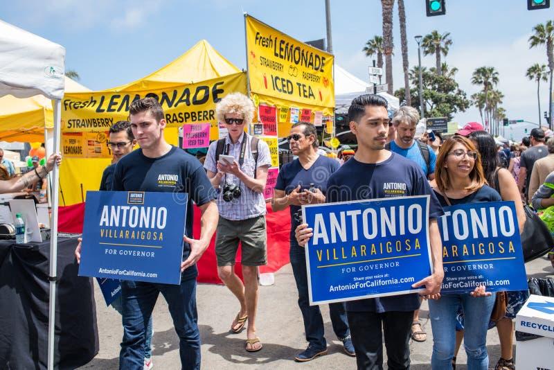 California Gubernatorial candidate Antonio Villaraigosa campaigning in Hermosa Beach, California. Hermosa Beach, Ca: 5/28/2018: California Gubernatorial royalty free stock image