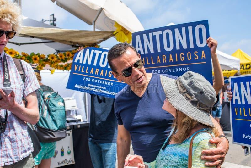 California Gubernatorial candidate Antonio Villaraigosa campaigning in Hermosa Beach, California. Hermosa Beach, Ca: 5/28/2018: California Gubernatorial stock image