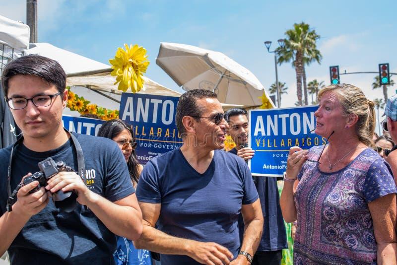 California Gubernatorial candidate Antonio Villaraigosa campaigning in Hermosa Beach, California. Hermosa Beach, Ca: 5/28/2018: California Gubernatorial royalty free stock images