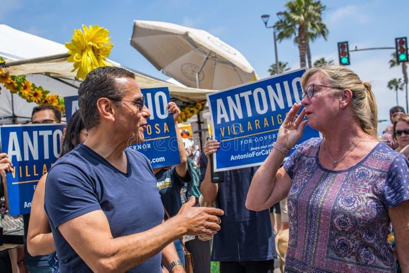 California Gubernatorial candidate Antonio Villaraigosa campaigning in Hermosa Beach, California. Hermosa Beach, Ca: 5/28/2018: California Gubernatorial royalty free stock photography