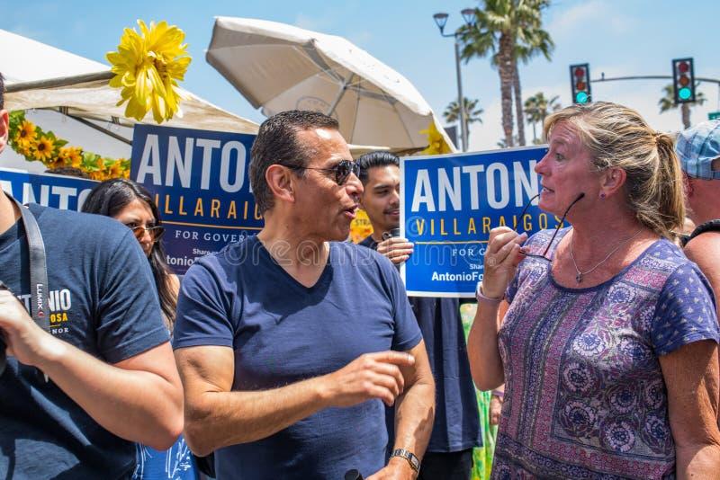 California Gubernatorial candidate Antonio Villaraigosa campaigning in Hermosa Beach, California. Hermosa Beach, Ca: 5/28/2018: California Gubernatorial stock photography