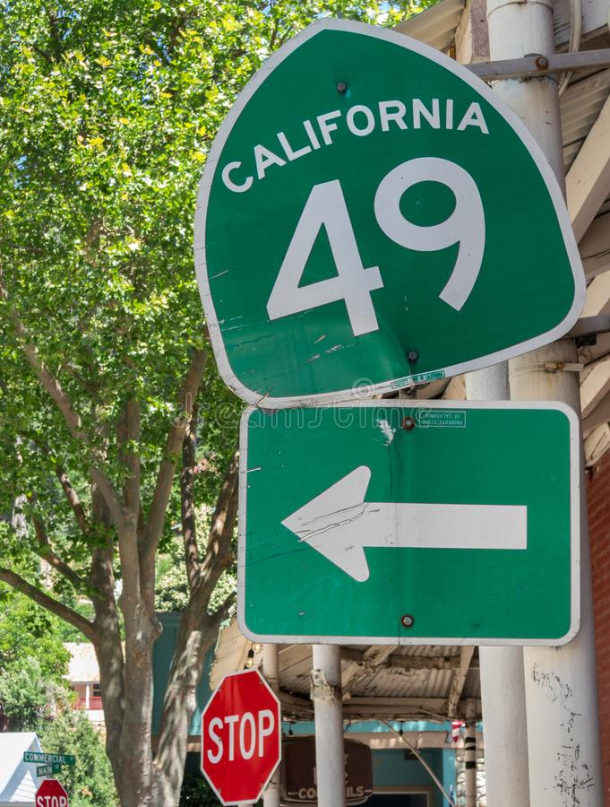 California highway 49, historic gold country. Historic Highway 49 in Downieville, California royalty free stock photography