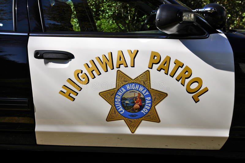 california highway patrol car door shield editorial photo. Black Bedroom Furniture Sets. Home Design Ideas