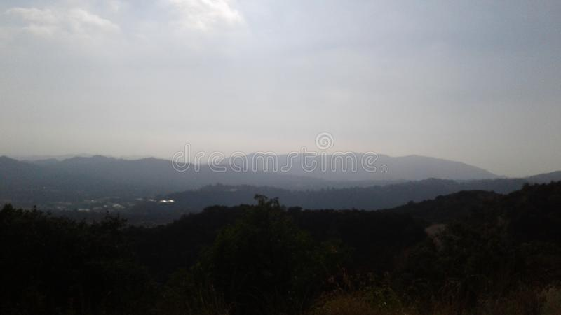 Hazy mountains stock photo