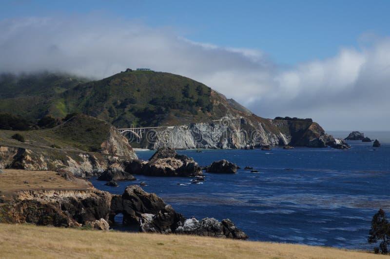 California HWY 1 And Bixby Bridge Stock Photo