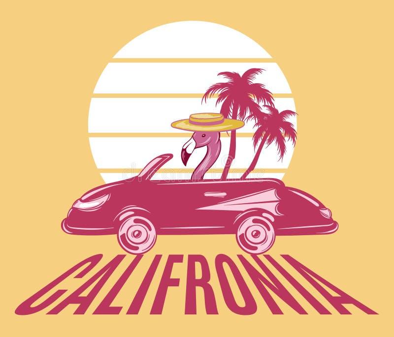 california Illustrazione disegnata a mano di vettore del fenicottero in retro automobile con le palme isolate illustrazione vettoriale