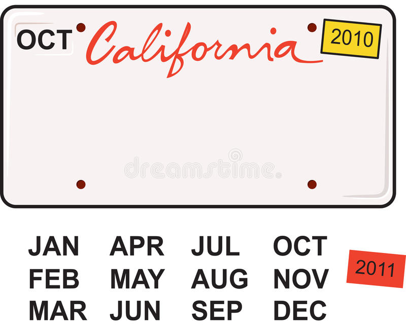 California License Plate 2010. Comes with all month abbreviations and the'sticker' for 2011 royalty free illustration