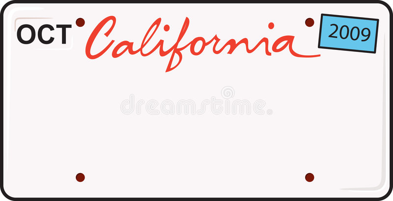 California License Plate. This is a vector california license plate - just add letters and numbers stock illustration