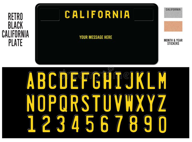 California License Plate Black Retro Design. With Custom Lettering that is Embossed to look real Vector stock illustration