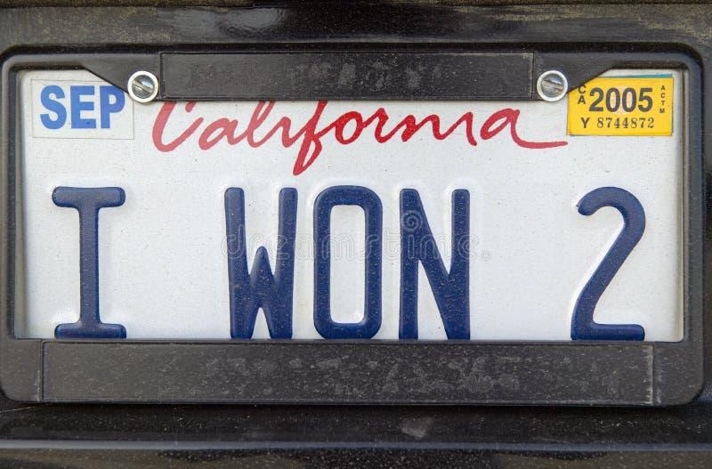 California license plate reads �I Won 2� stock photo