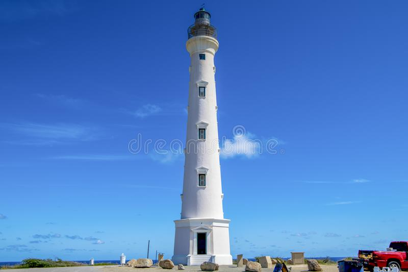 California Lighthouse, Aruba. Calirnia Lighthouse is a famous Landmark of Aruba. Aruba - a tourist paradise - is an island in the Caribbean Sea, Lesser Antilles royalty free stock image