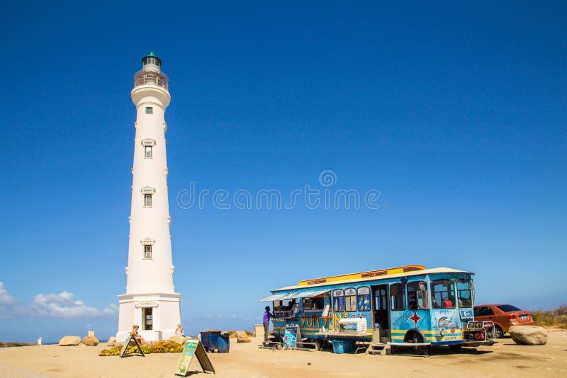 California Lighthouse Aruba Landmark. NOORD, ARUBA - MARCH 15, 2017: Landmark California Lighthouse located at Hudishibana near Arashi Beach stock image