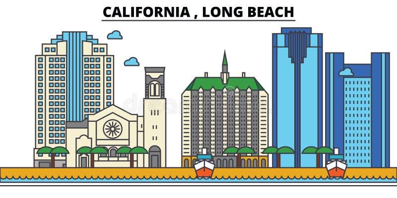 California, Long Beach Arquitectura del horizonte de la ciudad stock de ilustración
