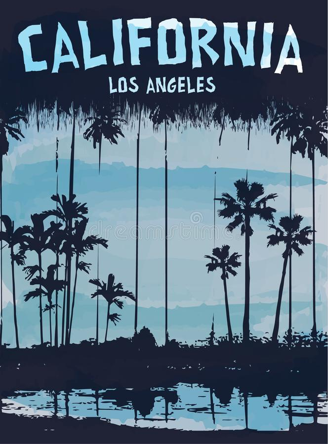 California Los Angeles sign. An illustrated sign California Los Angeles with a drawing of palm trees on the coast vector illustration