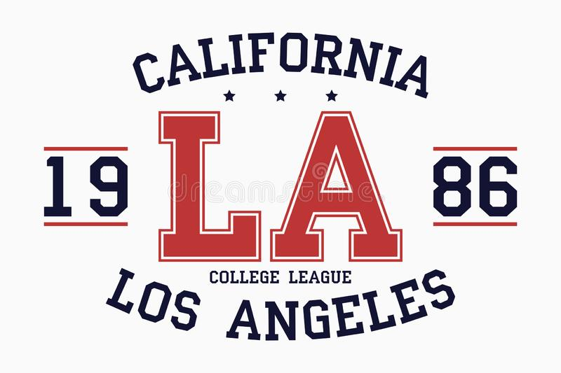 California, Los Angeles slogan typography graphics for t-shirt. College print for apparel. Varsity LA stamp. Vector. stock illustration