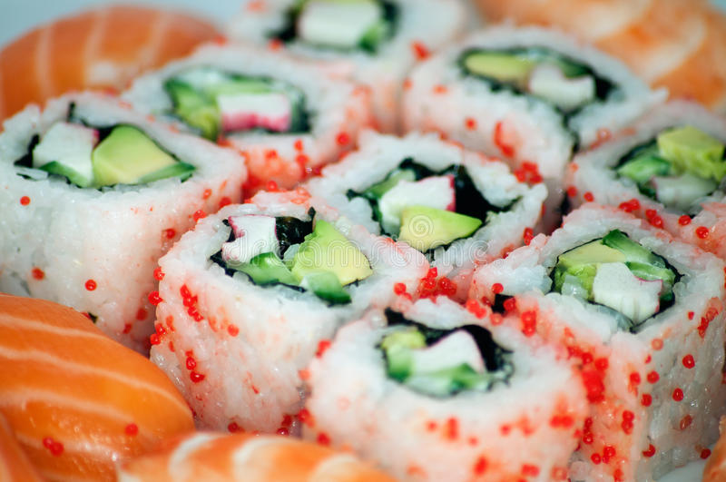 California maki and sushi close up royalty free stock image