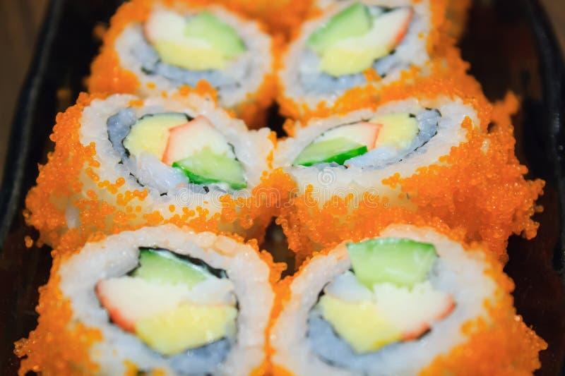 California Maki Sushi con Masago fotografia stock