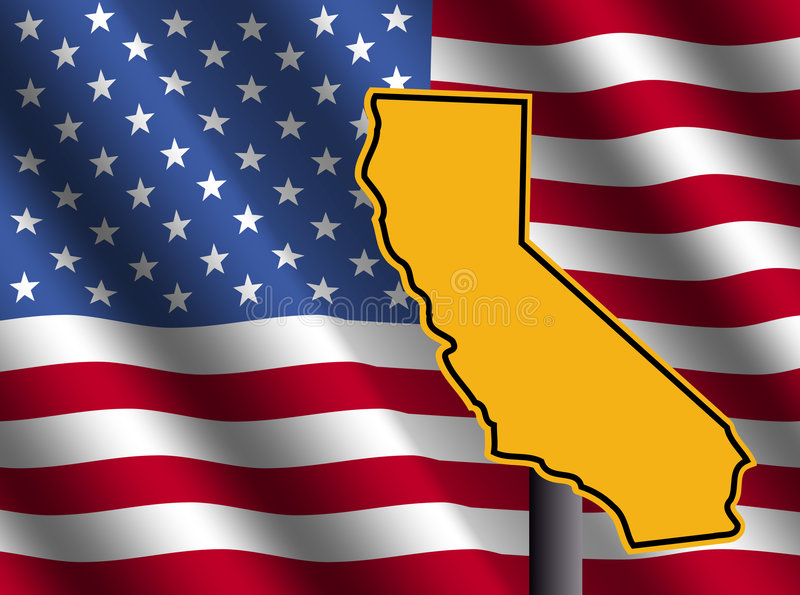 California map sign with flag