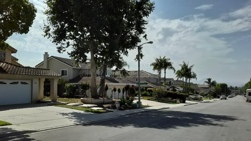 California Neighborhood with Palm Trees and Tiled Roofs stock photography