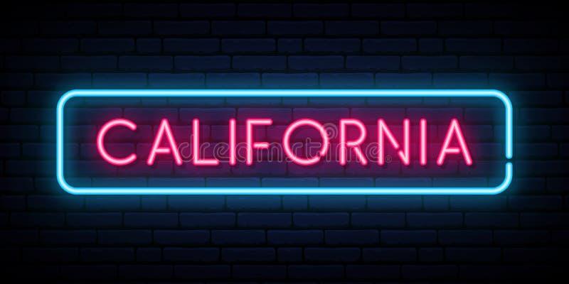 California neon sign. Bright light signboard. stock illustration