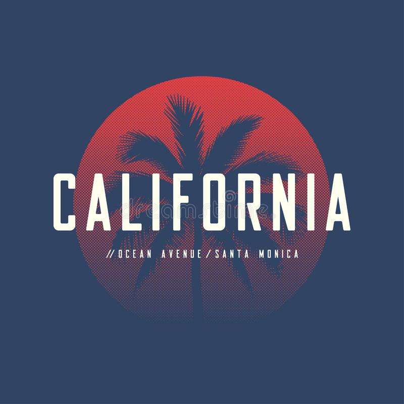California Ocean Avenue t-shirt and apparel design with palm tree and halftoned sun, vector illustration, typography, print, logo vector illustration