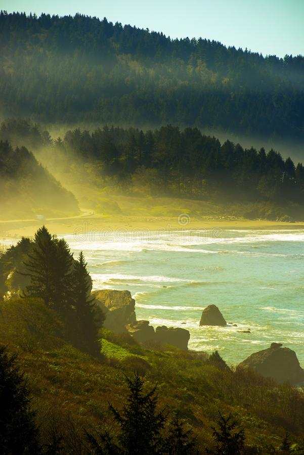 California Pacific Coast. Northern California Pacific Coast Near Crescent City, California, United States. Foggy Redwood Highway stock image