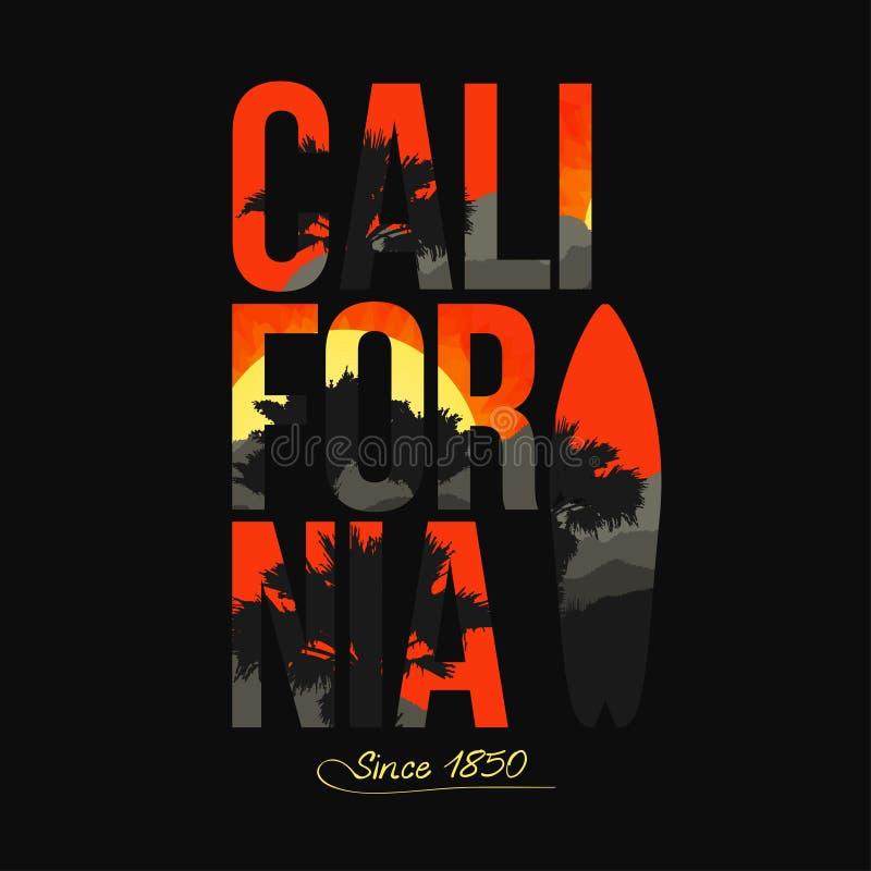 california Palmy, góry, zmierzch inside Typografia dla koszulki grafiki ilustracji