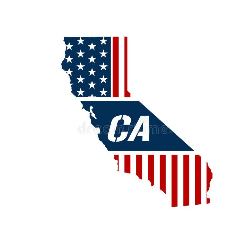 California Patriotic Map Vector Graphic Design Illustration Stock