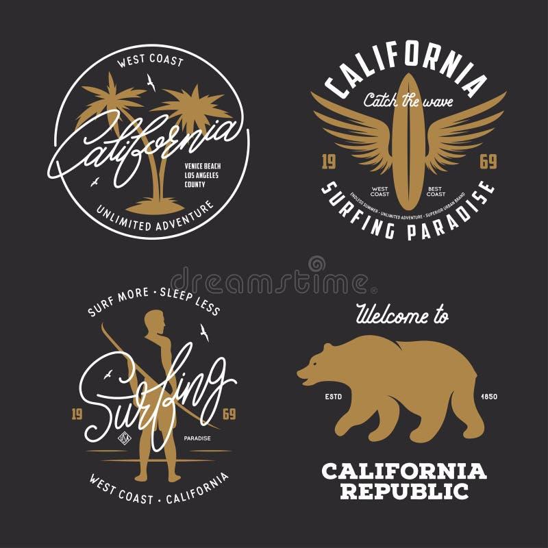 California relacionó los gráficos del estilo del vintage de la camiseta fijados Ilustración del vector stock de ilustración