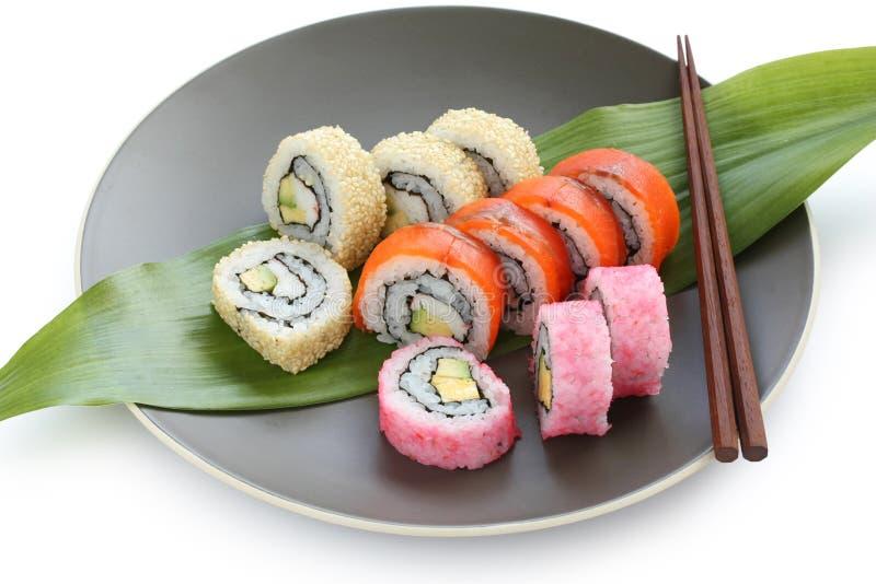 California rolls , maki sushi , japanese food royalty free stock photo