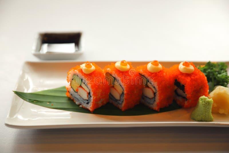 California rolls sushi with egg cucumber avocado cream cheese red caviar Sushi menu , Japanese food stock image