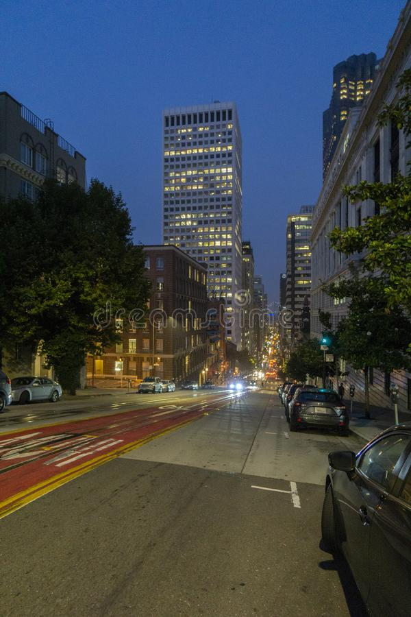 California, San Francisco, night view of city street. San Francisco, night view of city street stock photo