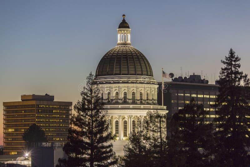 California State Capitol Dome Dusk View. Dusk view of the California State Capitol dome in downtown Sacramento stock photo