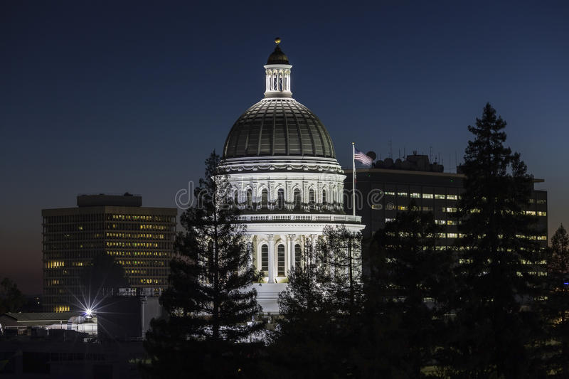 California State Capitol Dome at Night. Night view of the California State Capitol dome in Sacramento stock photography