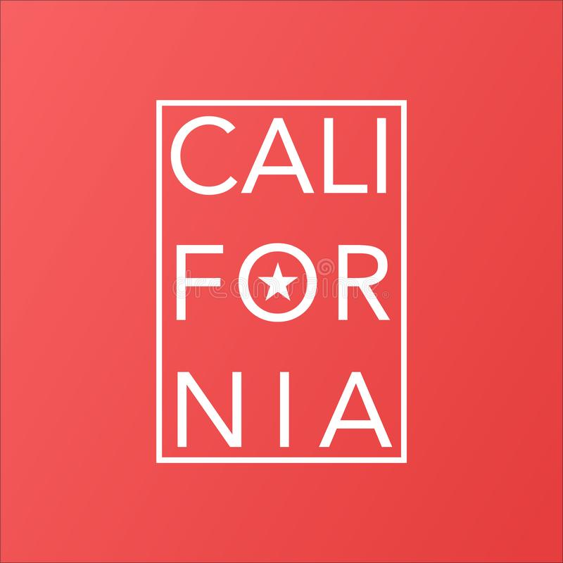 California state on living coral modern background stock illustration