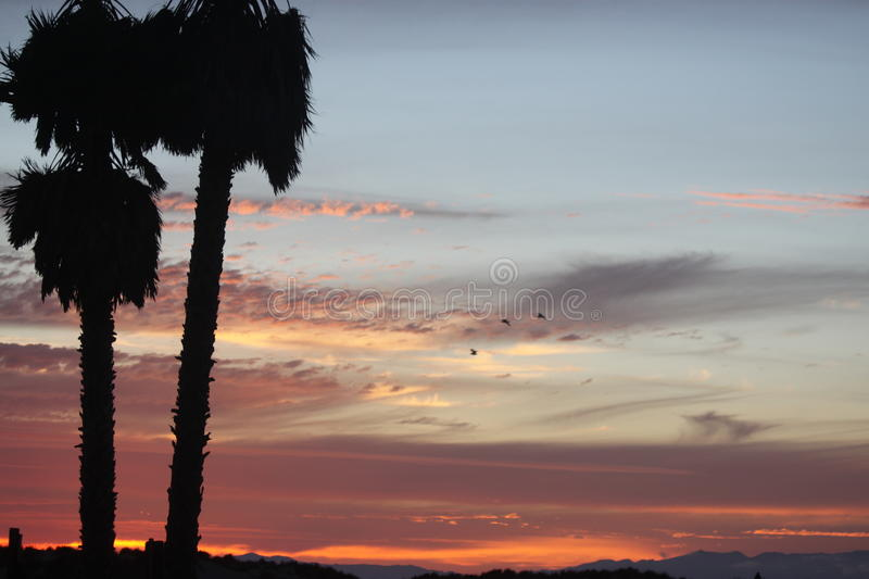 California sunset and clouds royalty free stock photo