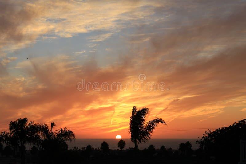 California Sunset. Southern California summer beach sunset royalty free stock photography