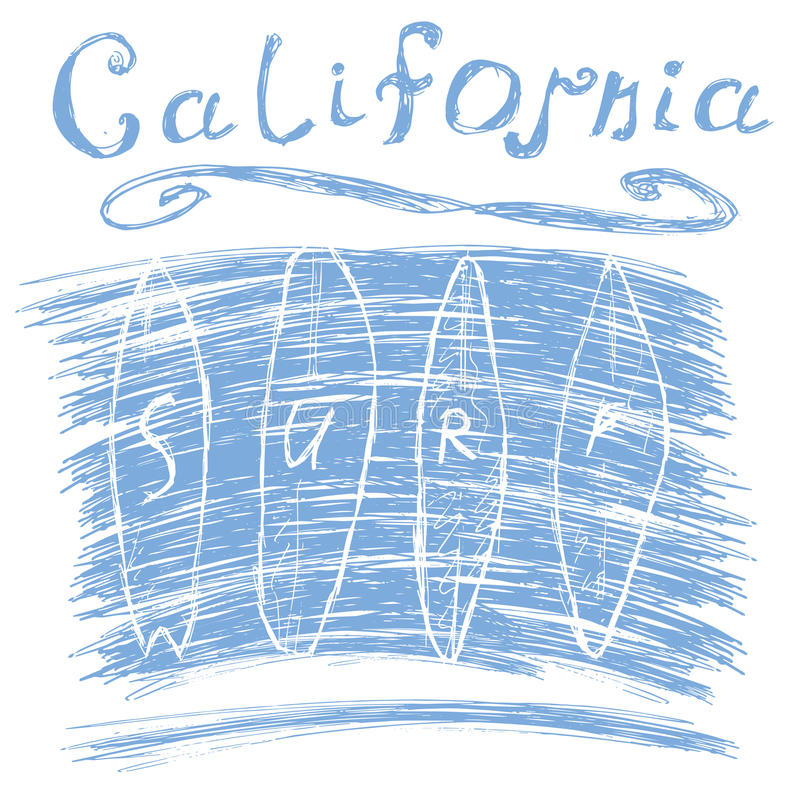 California surf typography, t-shirt Printing design graphics, vector poster, Badge Applique Label.  royalty free illustration
